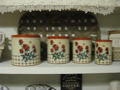 Vintage Set 4 NC Colorware Nesting Tin Canisters Red/Cream, Flowers, Plaid Bee