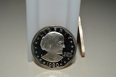 1980 S Susan B Anthony PROOF DOLLAR ROLL (20 Coins)  - SQUARE PLASTIC TUBE