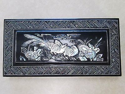 Vtg Asian Wood Lacquer Abalone Cigarette Dispenser Box with Brass Ashtray