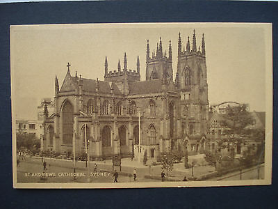 Vintage Used Brown Sepia Post Card St Andrews Cathedral, Sydney