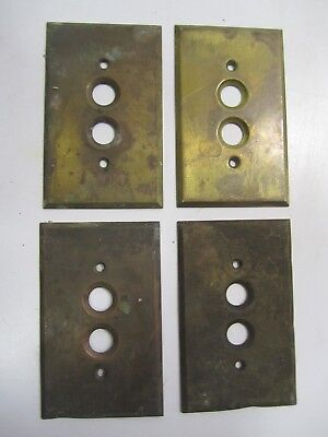 4-Antique Push-Button Heavy Brass, Single-Switch, Electrical Plate Covers    #B
