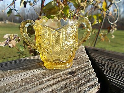 Imperial Glass Yellow Panel Star and Hob 2 Handled Toothpick Holder