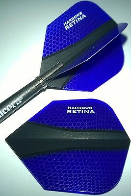 15 Harrows Retina X Dunkelblau Dart Flights 5 Sets Standard Form
