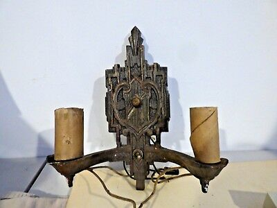 Antique Victorian Wall Sconce Metal Light Fixture   RARE   LOOK !