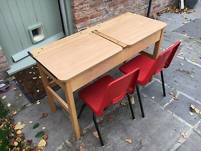 Old School Desk With Twin Flip Up Lid