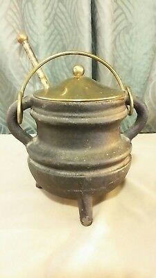 Vintage Cast Iron Smudge fire starter Pot with pumice wand and brass top,Korea