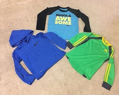 Lot Of 3 Pieces  Nike &  Adidas Boys Athletic Tees Size 5
