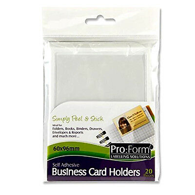 Business Card Holders Self Adhesive Clear Plastic Card Holder Top Open 60 x 96mm