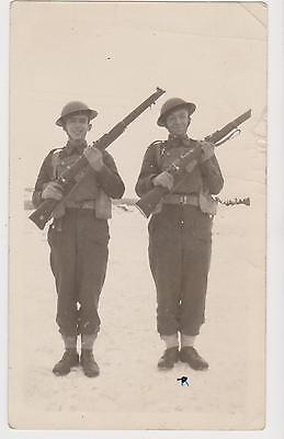 Two US Soldiers In Trench Uniform with Gun Rare Original WWI Photograph