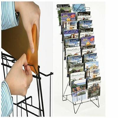 Black Wire Magazine Rack Holder Free Standing Floor with 20 Stacked Pockets