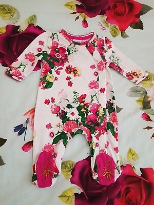 Baby Girls Ted Baker Beautiful 🌹Floral🌹 Print Sleepsuit/Babygrow. 0-3 Months..