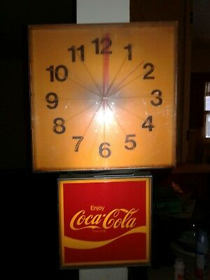 COCA COLA Electric Advertising Clock 1970'S LIGHTS UP