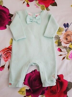 Baby Girls 🥀Ted Baker 🥀 Mint Quilted Stylish Romper Suit Playsuit. 0/3Months..