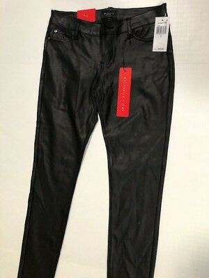 Junior's NWT Celebrity Pink Black Pleather Coated Skinny Jeans