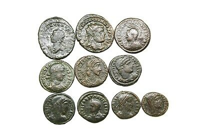 ANCIENT LATER ROMAN IMPERIAL AE FOLLIS. LOT OF TEN.   1v616