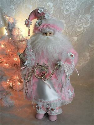 OOAK Shabby Chic Victorian Romantic Santa Clause Pink XMAS Centerpiece Decor 22""