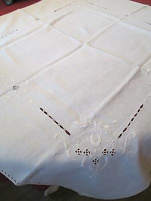 Antique Linen Embroidery Cut Work Tablecloth Table Topper Tea Cloth 33 1/2""