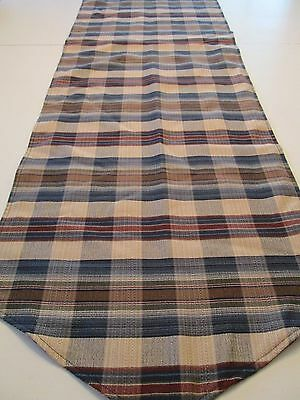 Country Cottage Navy Blue Tan Rusty Brown Plaid Table Dresser Runner 17 1/2 X 66