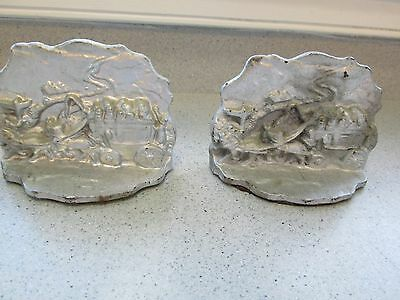 """Antique Cast Iron Bookends Stagecoach Horses Ptd Silver 3"""" Tall Western South"""