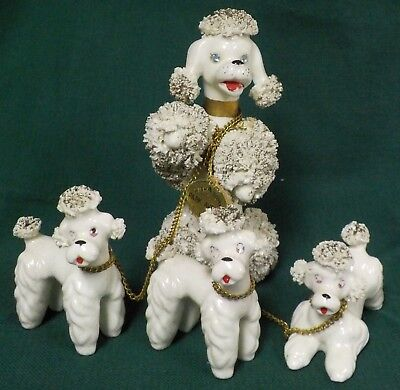 Vintage 1950's White w/ Gold Porcelain Spaghetti Poodle Dogs Complete Set of 4