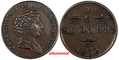 Sweden Carl XIV Johan Copper 1832 1/6 Skilling 1 YEAR TYPE XF Condition  KM# 634