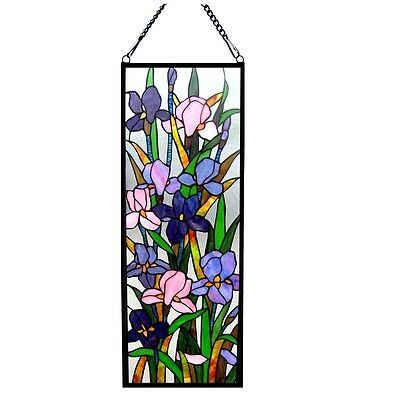"""PAIR Handcrafted Iris Floral Tiffany Style Stained Glass Window Panel 11""""  X 31"""""""