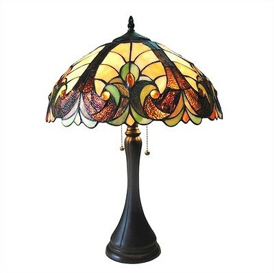 PAIR Victorian Design Tiffany Style Stained Glass Table Desk Lamps   BEAUTIFUL!