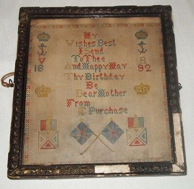 1892 Happy Birthday Punch Paper Needlework Sampler British French Flags