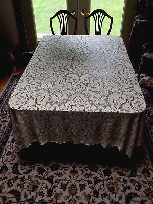 Antique Vintage Quaker Lace Banquet Ornate Tablecloth Heavy Dense Cotton