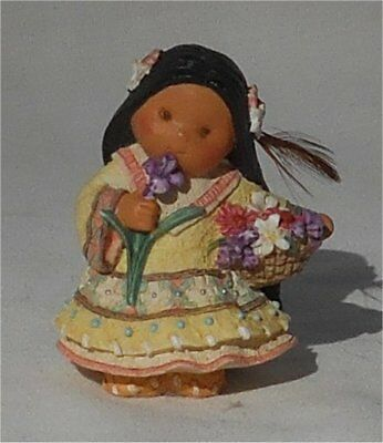 1998 Enesco Friends of the Feather Small Girl With Flowers