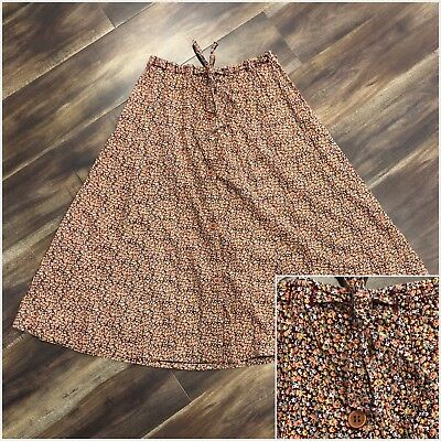 XS - Vintage 70s Brown Floral Button Front A-Line Skirt