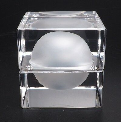 Steuben Square Lidded Trinket Box With Inner Frosted Sphere
