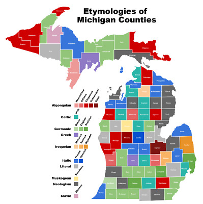 MICHIGAN STATE COUNTY MAP GLOSSY POSTER PICTURE PHOTO PRINT etymologies 3356