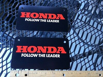 """(2) NOS HONDA Motorcycle 1979-80's Advertising """"Follow The Leader"""" License Plate"""