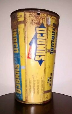 Vintage Sunoco Oil Trash Can Hand Made