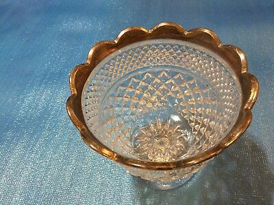 Anchor Hocking Wexford Diamond Point Pressed Glass Centerpiece Fruit Punch Bowl