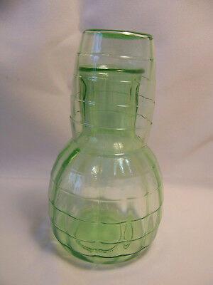Green Depression Glass Tumble Up Block Optic Night Carafe Decanter And Tumbler