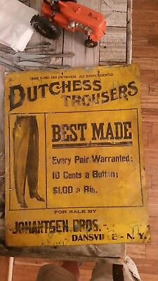 Antique Dutchess Trousers Tin Advertising Sign.