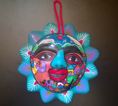 Mexican Pottery Clay Hand Painted Sun Folk Art Wall Hanging