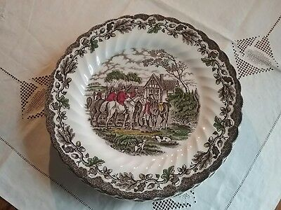 1 one -Myotts Country Life Multi Color Dinner Plate  Hunt scene England 5 aval.