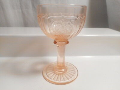 "Anchor Hocking Mayfair - Open Rose 4"" Pink Cocktail Glass 1931"