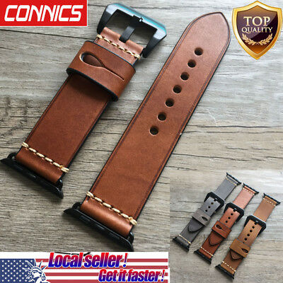 For Apple Watch Series 5 4~1 Luxury Retro Genuine Leather iWatch Band WristStrap