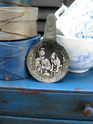 Antique Tin Toy Fry Pan with Old Photo Print Civil War Soldier and His Dog