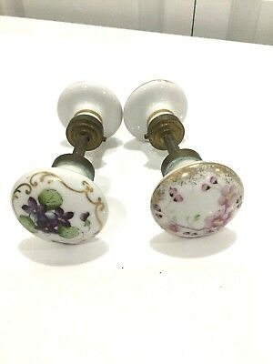 Antique Hand Painted Floral Porcelain Door Knobs Lot Of 2 ! Must See