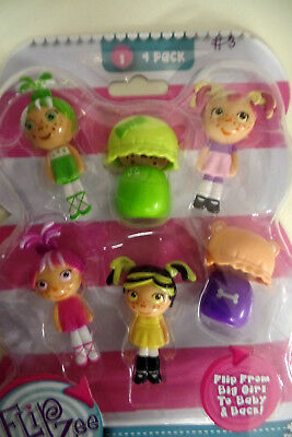 FLIP ZEE GIRLS 4 PACK-FLIP FROM BIG GIRL TO BABY AND BACK--GREEN AND WHITE HAIR