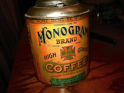 vintage paper label coffee tin