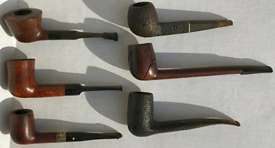 Lot Of Six Pre-Smoked Vintage Pipes And Pipe Stand/holder - Smoking, Tobacco