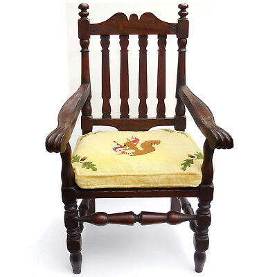Antique American Victorian Carved Walnut CHILD'S Armchair with Needlepoint Seat
