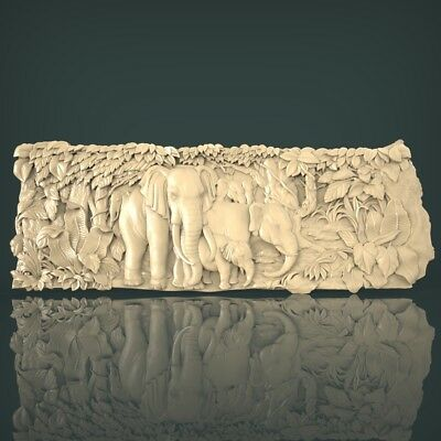 (1128) STL Model Elephants for CNC Router 3D Printer Artcam Aspire Bas Relief