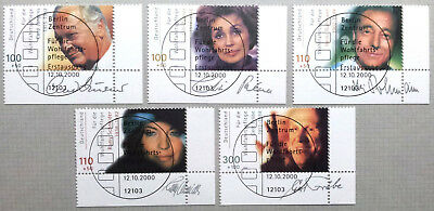 Germany 2000 : Film Actors. Full corner stamp set of 5 with special cancels